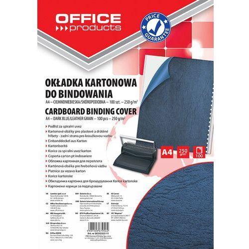 Okładki do bindowania OFFICE PRODUCTS, karton, A4, 250gsm, skóropodobne, 100szt., ciemnoniebieskie (5901503679562)