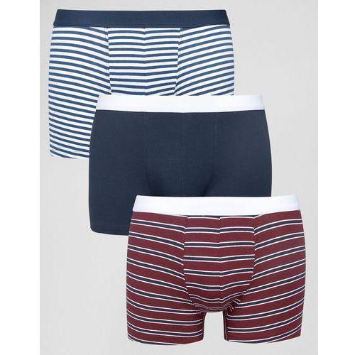 New Look Trunks In Berry Blue Stripe 3 Pack - Red - sprawdź w wybranym sklepie