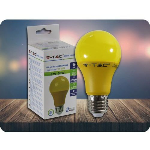 E27 LED kolorova Żarówka 9W (570LM) - żółta + Bezpłatna natychmiastowa gwarancja wymiany!, 7342