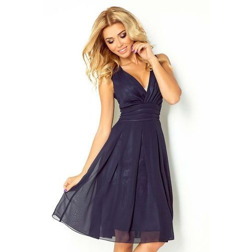 Granatowa Sukienka Wieczorowa z Szyfonu z Dekoltem V, w 2 rozmiarach