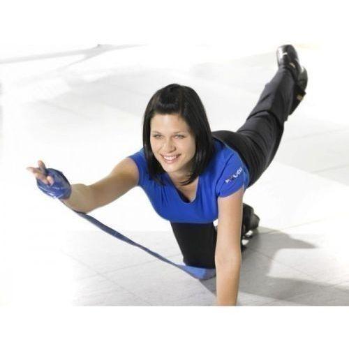 Taśma gimnastyczna Thera Band 2,5 m z zestawem ćwiczeń, opór słaby, żółta