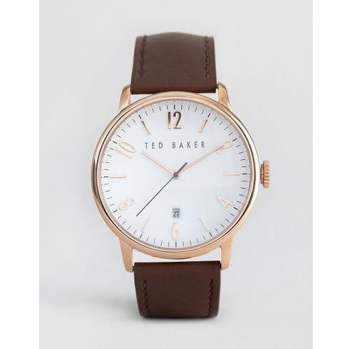 Ted Baker Classic Brown Leather Watch With Rose Gold Dial - Brown