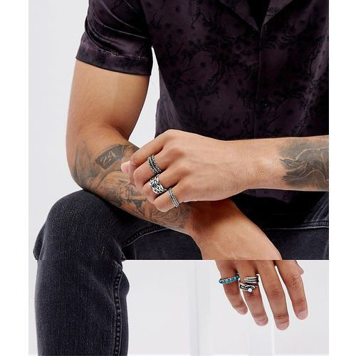 Asos  chunky ring pack in burnished silver with turquoise stone design - silver