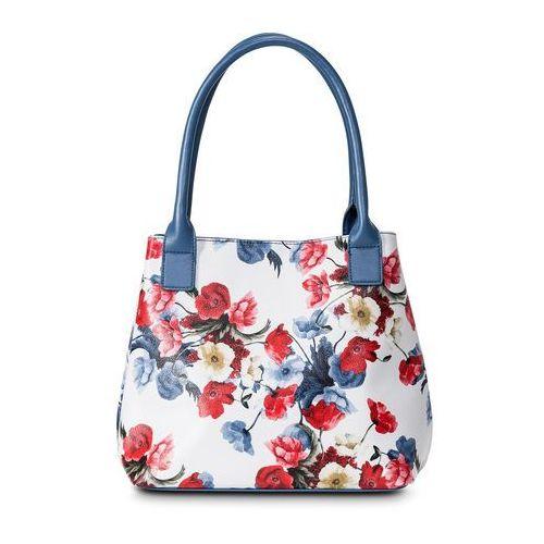 Torebka do ręki jasnoniebiesko-ciemnoniebiesko-czerwony w kwiaty marki Bonprix