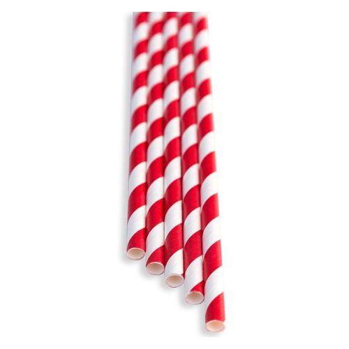 Słomki papierowe czerwono - białe