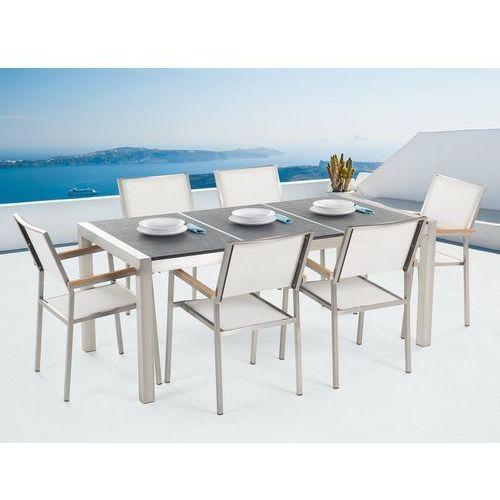 Beliani Zestaw ogrodowy stół granit palony dzielony blat czarny i 6 krzeseł białych grosseto