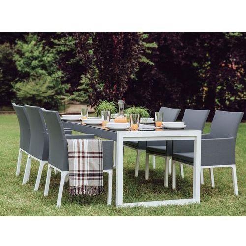 Zestaw ogrodowy szary - taras - balkon - stół + 6 krzeseł - bacoli marki Beliani
