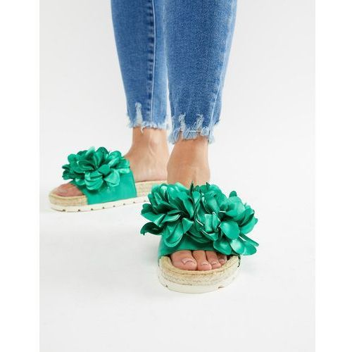 River Island sliders with floral detail in green - Green, kolor zielony