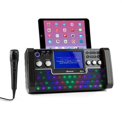 OKAZJA - Auna discofever zestaw karaoke bluetooth led ekran tft 7 cali cd usb czarny