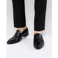New look faux leather loafers in black - black