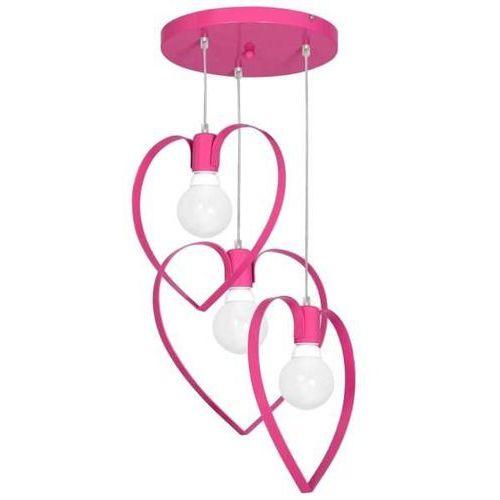 Dziecięca lampa wisząca LOVE 3xE27/60W/230V różowa (5907565999570)