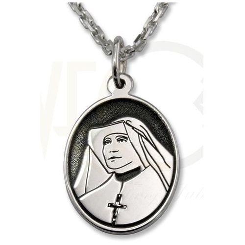 Medalik srebrny z wizerunkiem św. Siostry Faustyny Kowalskiej MED-FK-01, kolor szary
