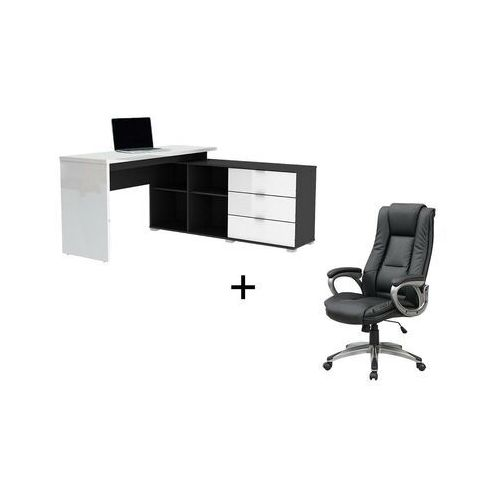 Vente-unique.pl Zestaw biurowy złożony z 2 produktów: biurko pivola & fotel