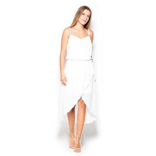 Ecru Sukienka Midi z Zakładanym Dołem na Ramiączkach, 1 rozmiar