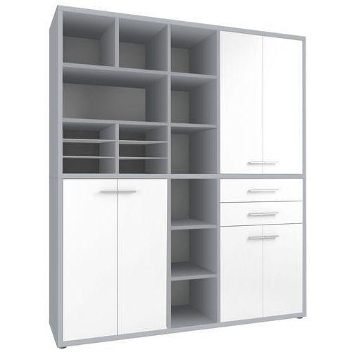 Regał biurowy SET+ 216x191 cm, szary-biały, MDF, 16916346