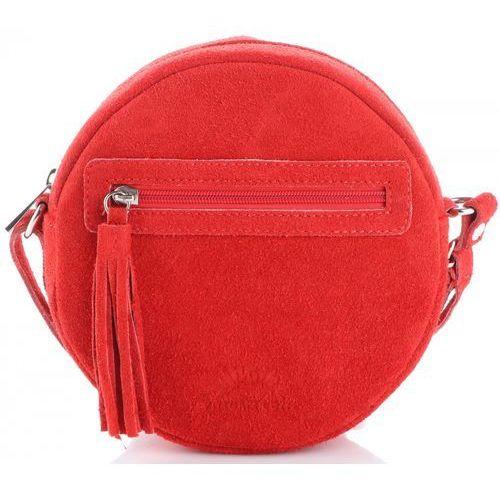 1addfd1e485c0 Modne okrągłe torebki skórzane listonoszki w całości wykonane z zamszu  naturalnego czerwona (kolory) marki