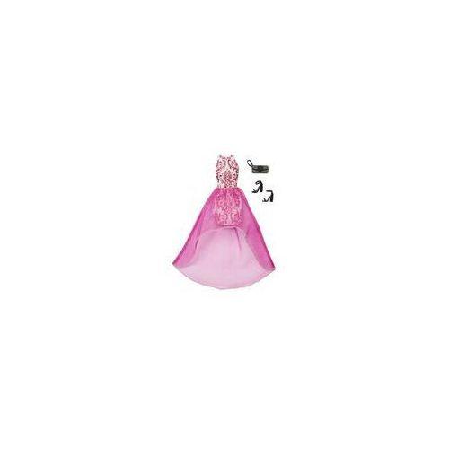 Barbie sukienka z dodatkami Mattel (biało-różowa), kolor różowy
