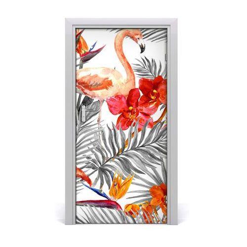 Naklejka samoprzylepna na drzwi Flamingi i kwiaty