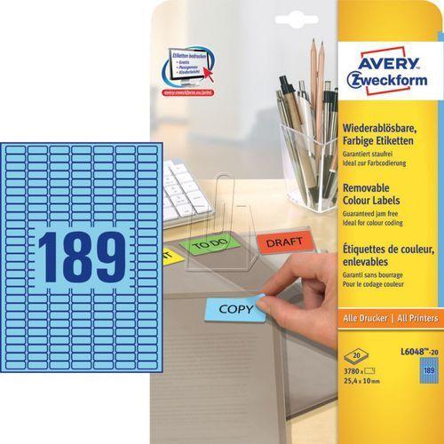 Etykiety kolorowe usuwalne Avery Zweckform niebieskie 25,4 x 10mm 20 ark./op. L6 - sprawdź w wybranym sklepie