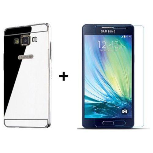Zestaw Obudowa Bumper Metal Case Zolti Srebrna + Szkło ochronne Perfect Glass Samsung Galaxy A5