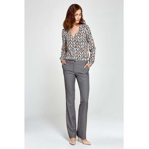 Szare Spodnie Eleganckie z Rozszerzanymi Nogawkami, w 6 rozmiarach
