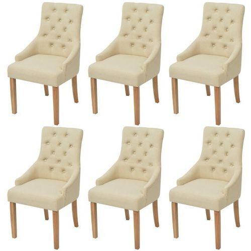 Dębowe krzesła do jadalni, tapicerowane tkaniną, kremowe, 6 szt., kolor beżowy