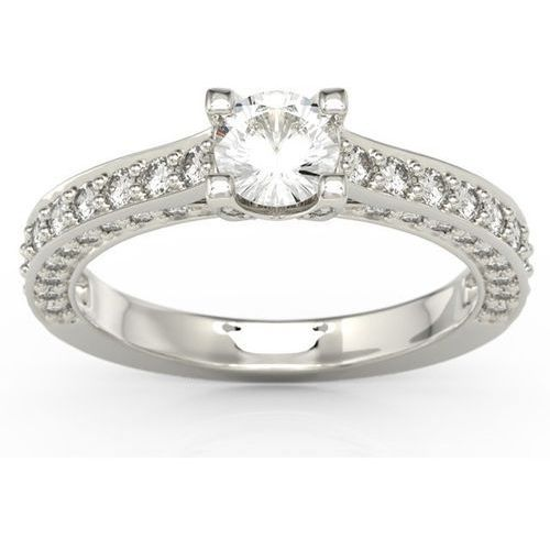 Wyjątkowy pierścionek z białego złota z zirconem i brylantami lp-16b - białe \ zirkon sparklit marki Węc - twój jubiler
