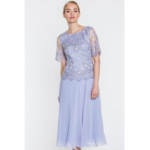 Szara sukienka w koronkową górą - Potis & Verso, kolor szary