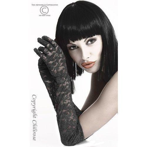 CR-3071 Gloria Black koronkowe rękawiczki