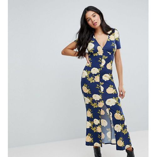 city maxi tea dress with v neck and button detail in blue floral print - blue marki Asos tall