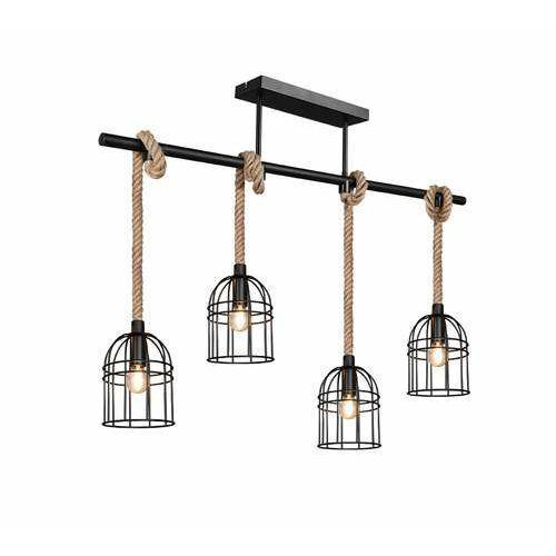 Trio RL Wodan R60444032 lampa wisząca zwis 4x10W E14 czarna/brązowa