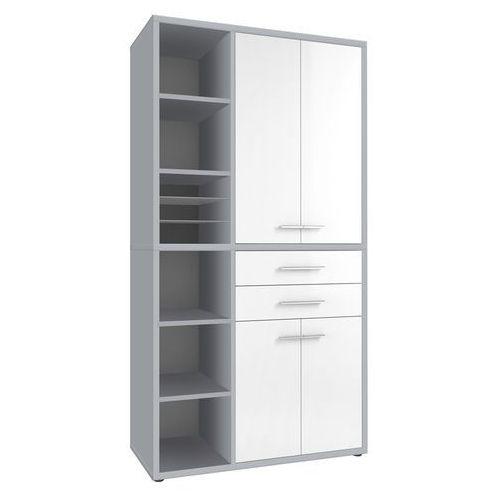 Regał biurowy set+ 216x117 cm, biały-szary, mdf, 16876346 marki Maja-möbel