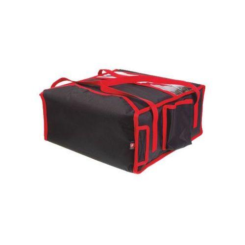Furmis Podgrzewana torba wykonana z kodury na 4 kartony do pizzy o wymiarach 450x450 mm, ze stelażem, czarna z czerwoną lamówką   , t4l pu