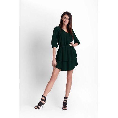 Zielona rozkloszowana dziewczęca sukienka z dekoltem v marki Ivon