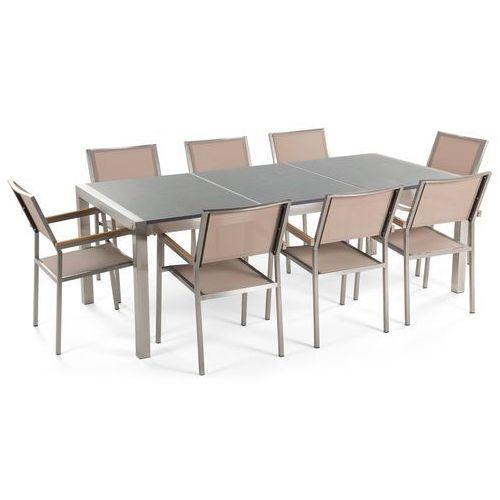 Beliani Meble ogrodowe - stół granitowy 220 cm szary polerowany z 8 beżowymi krzesłami - grosseto