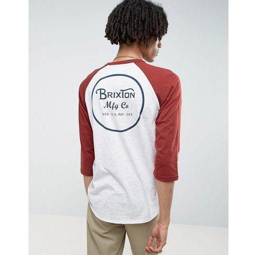 Brixton 3/4 Sleeve Raglan T-Shirt With Back Logo - Grey