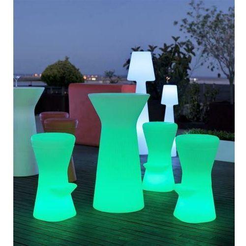 NEW GARDEN stolik barowy CAPRI 110 SOLAR biały - LED, sterowanie pilotem (5900000046891)