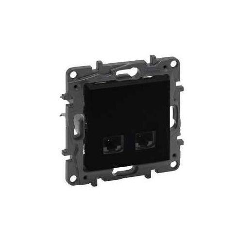 Gniazdo teleinformatyczne niloe step 863566 2 x rj45 kat. 6 stp podwójne czarne marki Legrand