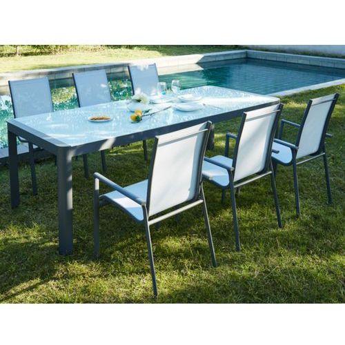 Zestaw ogrodowy z aluminium SAMAXI - rozkładany stół 180/240cm i 6 foteli - Siedzisko w kolorze białym