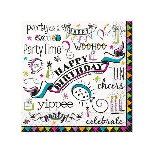 Serwetki urodzinowe Doodle Happy Birthday - 33 cm - 16 szt.