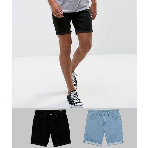 2 pack slim denim shorts with abrasions in light wash blue and black - multi marki Asos