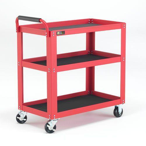 Wózek półkowy, 3 półki, 350 kg, 885x475x950 mm, czerwony