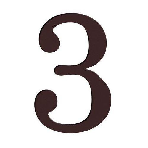 Cyfra 3 wys. 18 cm PVC brązowa