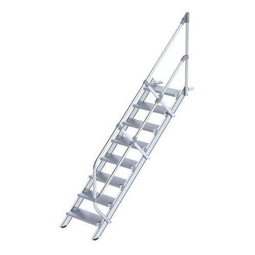 Schody przemysłowe, stopnie z aluminium, szer. stopnia 600 mm, 8 stopni. Stosown