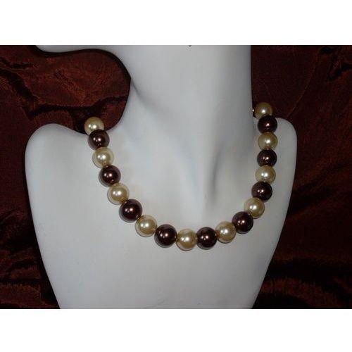 N-00013 Naszyjnik z perełek szklanych, kremowych i brązowych