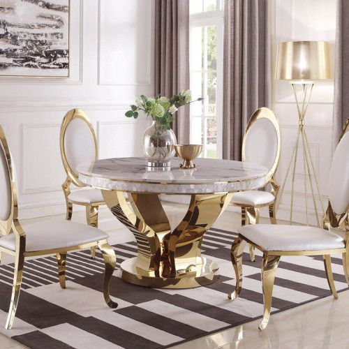 Bellacasa Stół glamour davson gold okrągły - stal szlachetna blat o strukturze marmuru