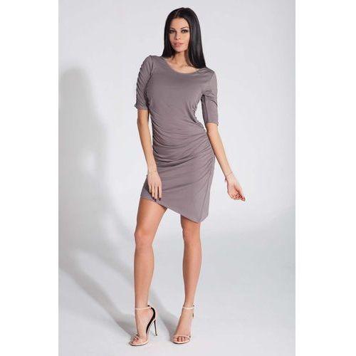 Cappuccino Sukienka Asymetryczna z Ozdobnym Drapowaniem, YF286cap