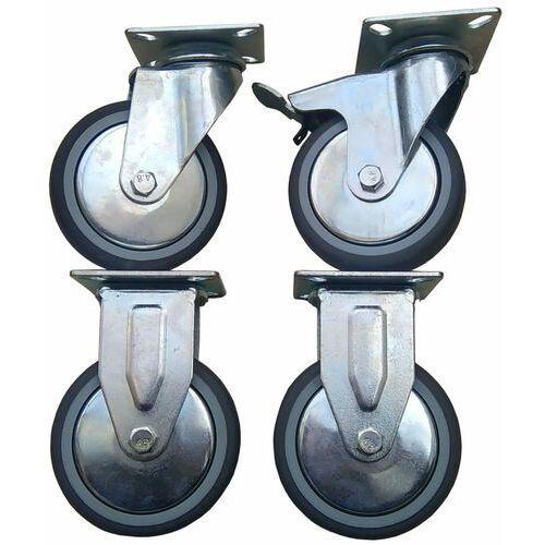 Zestaw kół fi 100 mm 2 szt. stałe, 1 szt. z hamulcem i 1 szt. skrętna bez hamulca gumowe 320 kg.