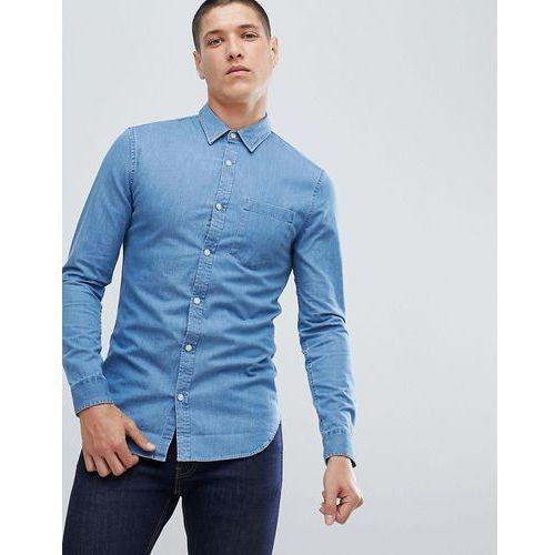 New look regular fit denim shirt in light blue wash - blue