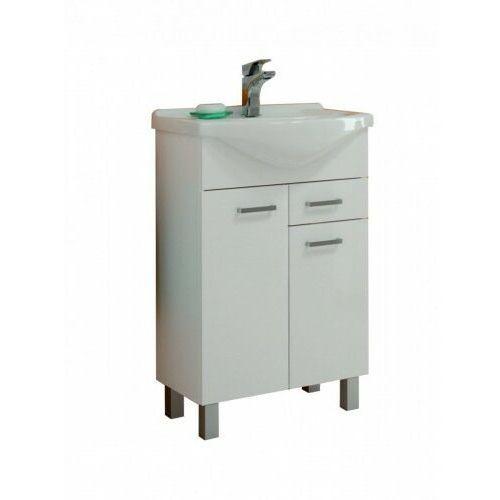 DEFTRANS NORMAN Zestaw łazienkowy szafka 2D0S D55 + umywalka, biały połysk 207-D-05506+1521, 207-D-05506+1521